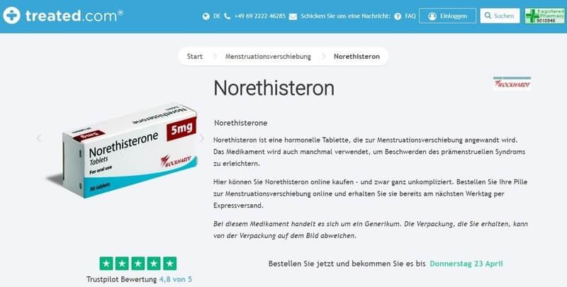 Norethisteron mit Online Rezept