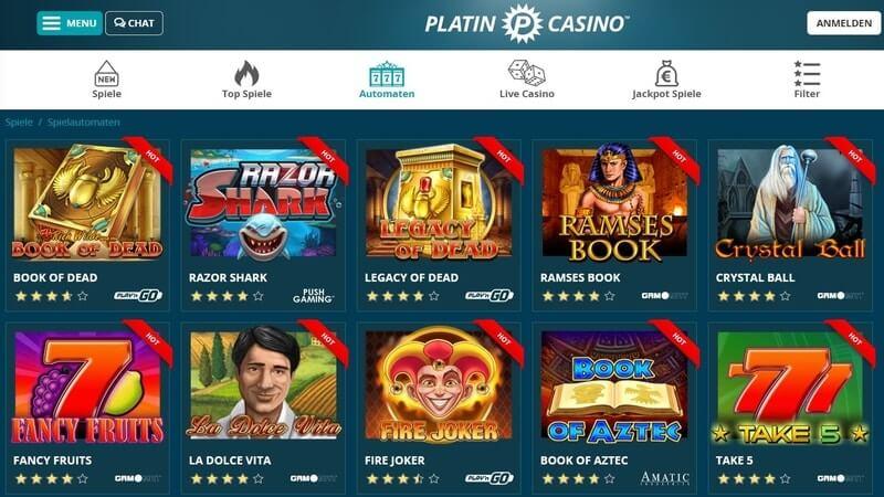 Platin Casino Spiele
