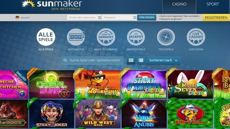 Sunmaker Casino Spielangebot