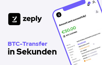 Zeply Bitcoins in Sekunden transferieren